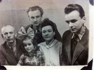 Grandfather, mother, friend, grandmother, uncle (left to right)